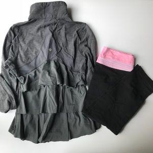 Lululemon Bundle jacket full zip and crops Sz 6